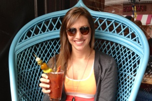 Spicy Bloody Mary's in the princess chair. Yes, I felt special