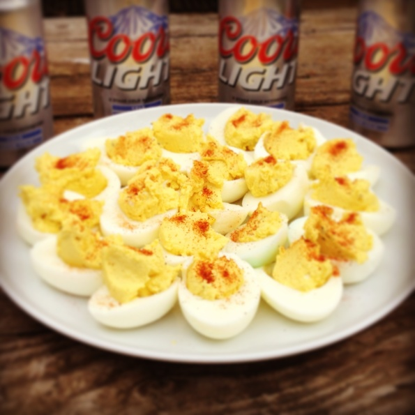 To give you a little perspective on how behind I am on blogging (sorry, life is crazy!), we did this work Easter weekend. And what Easter is complete without deviled eggs and Coors Light?!