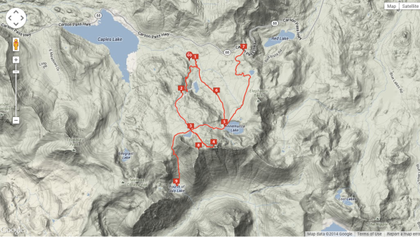 This is the best map I found of this hike. We didn't do the full loop here… we started at #7 (Carson Pass), headed to Winnemucca Lake (#5), then on to the summit (#4). We did some cross country to get from #5 to #4, but mostly stayed on the trail. Source: http://www.everytrail.com/guide/round-top-amp-winnemucca-lake-carson-pass