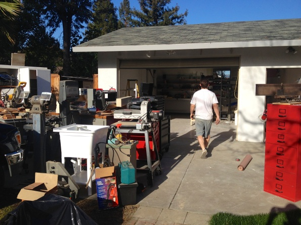 And just for fun: look at everything we had to pull out of the shop. There's a lot of stuff in there!